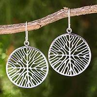Sterling silver dangle earrings, 'Living Roots' - Round Sterling Silver Dangle Earrings with Root Design