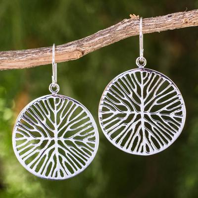 Sterling silver dangle earrings, 'Living Roots' - Round Sterling Silver Dangle Earrings with Root Design
