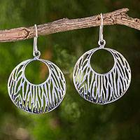 Sterling silver dangle earrings, 'Tidal Moon' - Handcrafted Sterling Silver Dangle Earrings from Thailand
