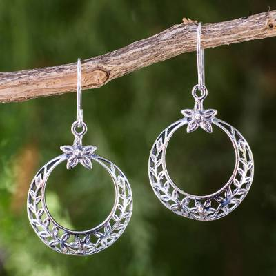 Sterling silver dangle earrings, 'Sweet Victory' - Laurel Wreath Victory Theme Earrings in Sterling Silver