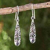 Sterling silver dangle earrings, 'Filigree Dew'