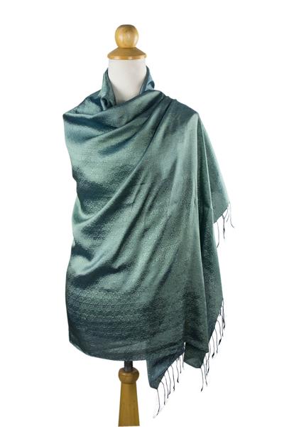Rayon and silk blend shawl, 'Elegance in Jade' - Jade Green Rayon and Silk Blend Floral Shawl