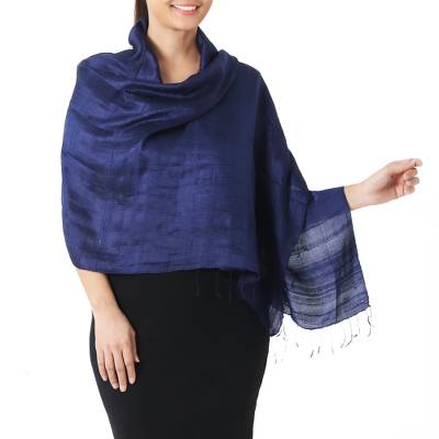 Silk shawl, 'Shimmering Indigo' - Deep Blue Handwoven Raw Silk Shawl from Thailand