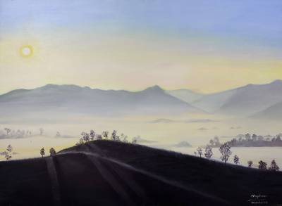'Sea of Mist at Mae Rim' - Signed Original Landscape Oil Painting of Thailand