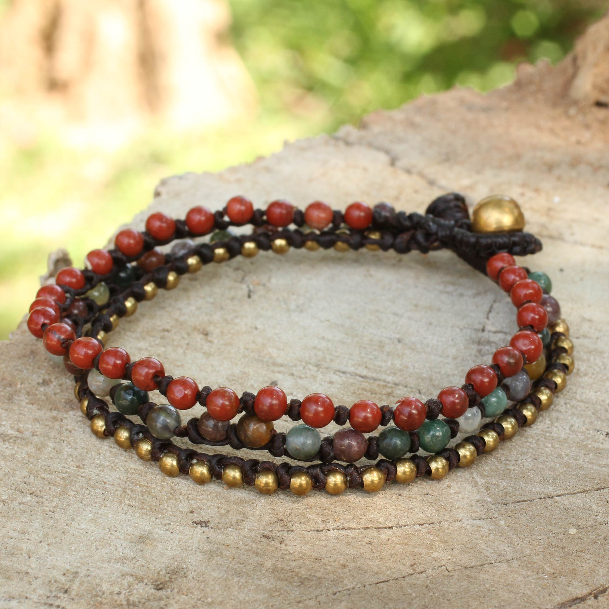 gold brown bracelet natural bead