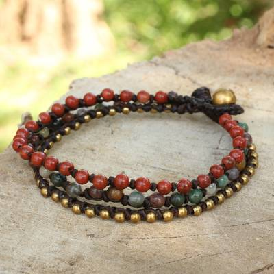 Jasper and agate beaded bracelet, 'Natural Mix' - Beaded Macrame Bracelet with Jasper, Agate and Brass