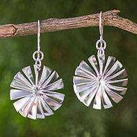 Sterling silver dangle earrings, 'Spin' - Fair Trade Matte Sterling Silver Thai Dangle Earrings