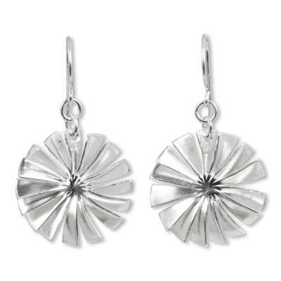 Sterling silver dangle earrings, 'Spin' - Fair Trade Matte Sterling Silver Thai Dangle Earrings