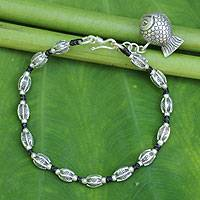 Beaded silver bracelet, 'Lucky Fish' - Hill Tribe Style Beaded Silver Bracelet with Fish Charm