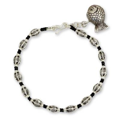 Hill Tribe Style Beaded Silver Bracelet with Fish Charm