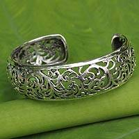 Sterling silver cuff bracelet, 'Glorious Garland' - Fair Trade Sterling Silver Cuff Bracelet with Filigree