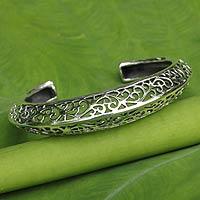 Sterling silver cuff bracelet, 'Elegant Classic'