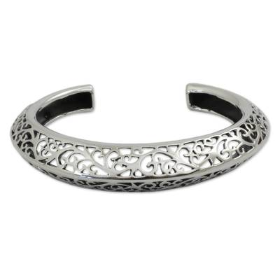 Sterling silver cuff bracelet, 'Elegant Classic' - Artisan Crafted Sterling Silver Cuff Bracelet from Thailand