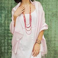 Rayon and silk blend shawl, 'Elegance in Pink'