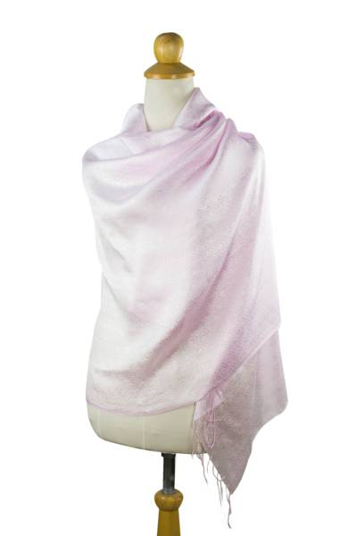 Rayon and silk blend shawl, 'Elegance in Pink' - Pale Pink Floral Jacquard Shawl of a Rayon/Silk Blend