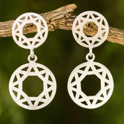 Sterling silver dangle earrings, 'Geometric' - Fair Trade Brushed Sterling Silver Geometric Earrings