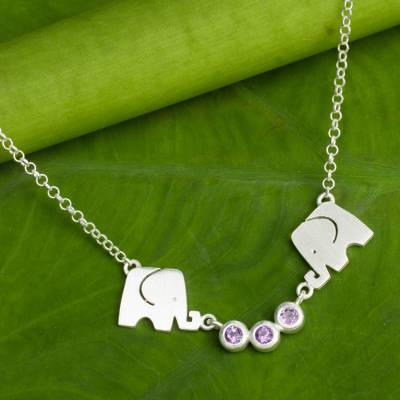 Amethyst pendant necklace, 'Grateful Elephant' - Elephant Pendant Necklace from Thailand with Amethysts