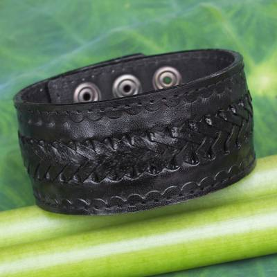 Men's leather wristband bracelet, 'Rugged Black' - Handcrafted Men's Black Leather Wristband Bracelet