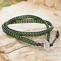 Quartz and leather wrap bracelet, 'Hill Tribe Green' - Leather Bracelet with Green Quartz and Hill Tribe Silver