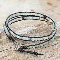 Amazonite and leather wrap bracelet, 'Hill Tribe Dew in Black'