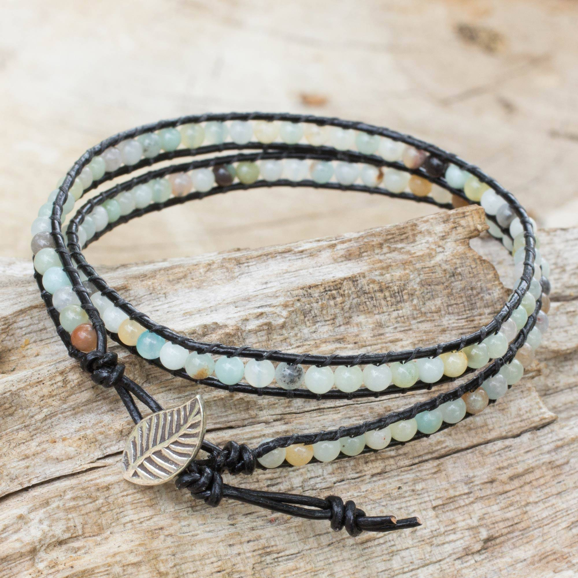 Amazonite And Leather Wrap Bracelet, 'hill Tribe Dew In Black'  Artisan  Crafted