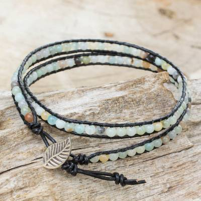 Amazonite and leather wrap bracelet, 'Hill Tribe Dew in Black' - Artisan Crafted Amazonite and Leather Beaded Wrap Bracelet