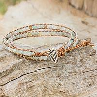 Amazonite and leather wrap bracelet, 'Hill Tribe Dew in Brown' - Fair Trade Amazonite and Leather Beaded Wrap Bracelet