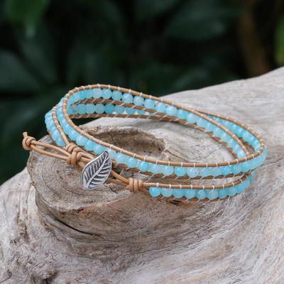 Quartz and leather wrap bracelet, 'Hill Tribe Ice in Brown' - Blue Quartz and Brown Leather Hand Made Wrap Bracelet