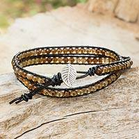 Agate and leather wrap bracelet, 'Hill Tribe Sun' - Handcrafted Thai Black Leather Bracelet with Golden Agate