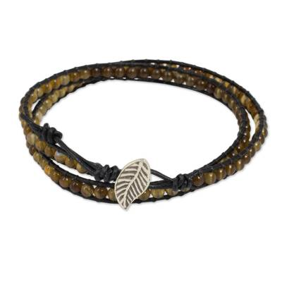 Handcrafted Thai Black Leather Bracelet with Golden Agate