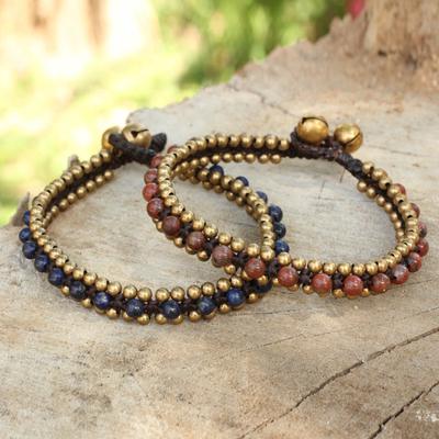 Lapis lazuli and jasper bracelets, 'Happy Times' (pair) - Beaded Macrame Lapis Lazuli and Jasper Bracelets (Pair)