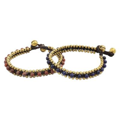 Lapis lazuli and jasper bracelets, 'Happy Times' (pair) - Beaded Macrame Lapis Lazuli and Jasper Bracelets (Pair)