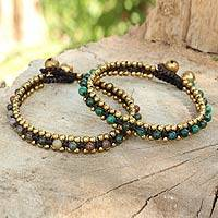 Serpentine and agate bracelets, 'Happy Times' (pair) - Gemstone Bracelets with Ringing Bells from Thailand