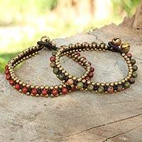 Unakite and jasper bracelets, 'Happy Times' (pair) - Unique Women's Bracelets with Unakite and Jasper