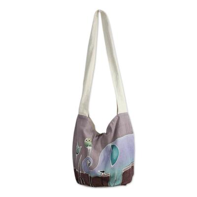 Cotton batik shoulder bag, 'Gentle Elephant' - Purple Cotton Batik Shoulder Bag with Elephant Motif