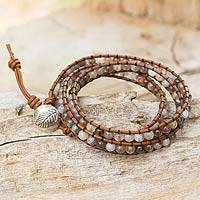 Agate and leather wrap bracelet, 'Leaf Fossil' - Hill Tribe Silver Button on Agate and Leather Wrap Bracelet