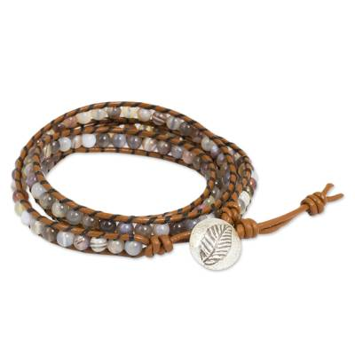 Hill Tribe Silver Button on Agate and Leather Wrap Bracelet