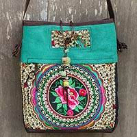 Leather accented shoulder bag, 'Mandarin Hmong in Green' - Thai Embroidered Green Shoulder Bag with Leather Trim
