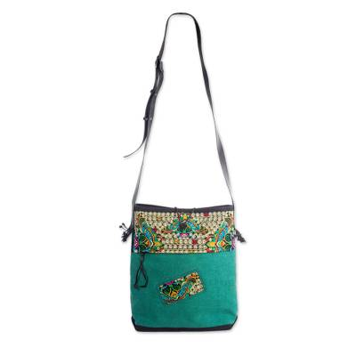 9ac3d298d914 UNICEF Market | Thai Embroidered Green Shoulder Bag with Leather ...