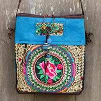Leather accented shoulder bag, 'Mandarin Hmong in Blue' - Blue Canvas Shoulder Bag with Floral Embroidery and Leather