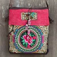 Leather accented shoulder bag, 'Mandarin Hmong in Red' - Leather Trimmed Red Floral Embroidered Shoulder Bag