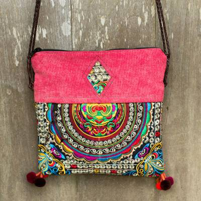 Leather accented shoulder bag, 'Mandarin Hill Tribe in Red' - Handmade Multicolor Handbag with Embroidery from Thailand