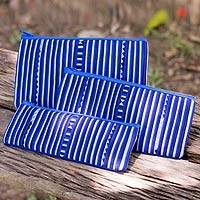 Cotton blend cosmetic bags, 'Blue Lisu Chic' (set of 3) - Thai Blue and White Cotton Blend Cosmetic Cases (Set of 3)