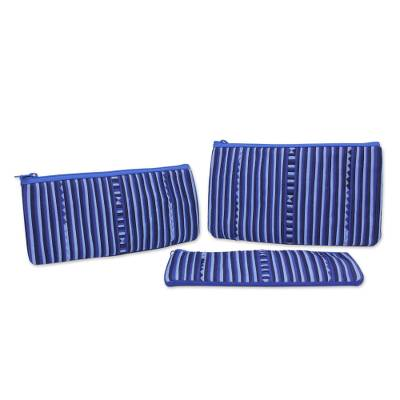 Thai Blue and White Cotton Blend Cosmetic Cases (Set of 3)