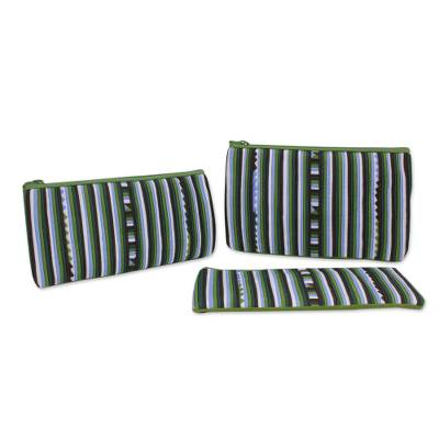 Cotton blend cosmetic bags, 'Green Lisu Chic' (set of 3) - Handmade Cotton Blend Striped Cosmetic Cases (Set of 3)