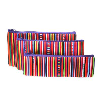 Purple Striped Makeup Cases from Thailand (Set of 3)