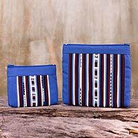 5053fe0f05 Fair Trade Blue Multicolor Cotton Blend Cosmetic Bags (Pair) - Exotic Lisu  in Blue