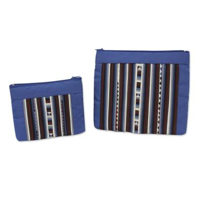 74261cad61 Exotic Lisu in Blue Fair Trade Blue Multicolor Cotton Blend Cosmetic Bags  (Pair)