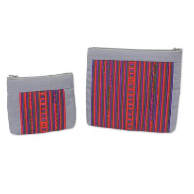 Artisan Crafted Cotton Blend Multicolor Makeup Cases (Pair)