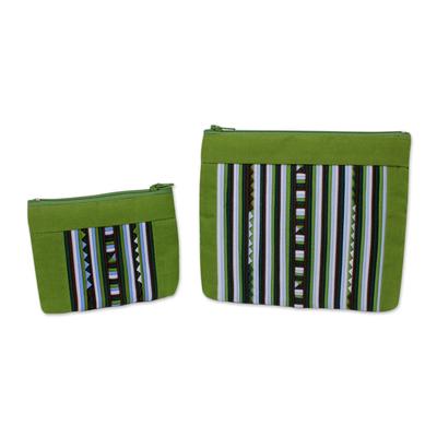 Fair Trade Lime Green Cotton Blend Makeup Bags (pair)